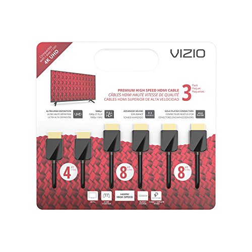 VIZIO TXCHMT-C2K High-Speed HDMI® Cable - 3 Pack (4'M, 8'M & 8'M)