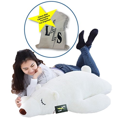 LightningStore Adorable Cute Big Giant Large Sleeping Lying Polar Bear Pillow Cushion Stuffed Animal Doll Realistic Looking Plush Toys Plushie Children's Gifts Animals + Toy Organizer Bag Bundle (Giant Jelly Fish compare prices)