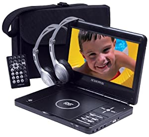 Audiovox D1998PK 9-Inch Slim Line Portable DVD Player with Bonus Headphones and Car Kit