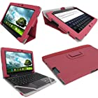 iGadgitz Pink 'Portfolio' PU Leather Case Cover for Asus Transformer Pad & Keyboard Dock TF700 TF700T TF700KL Infinity 10.1 Android Tablet (NOT SUITABLE FOR TF701T)