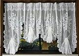 プリンセススタイルレースカーテン リボン出窓カーテンタイプ 幅200cmx丈85cm~115cm ホワイト