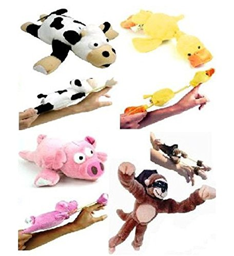 Firetea Flying Animals Slingshot Flingshot Palying Toy with Sound, 4pcs, Cow + Pig + Monkey + Duck