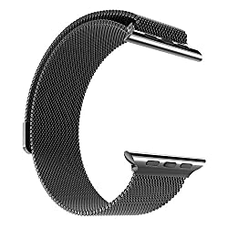 Hoco Watch Band with Magnet Lock Pinhen Milanese Loop Stainless Steel Bracelet Smart Watch Strap for Iwatch Apple Watch Band(milanese 42mm Black)