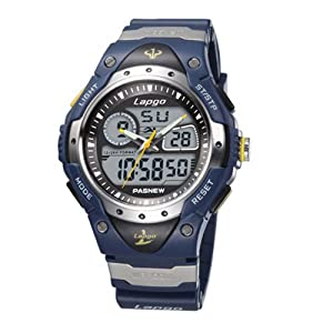 pasnew lapgo 100m water resistant dual time multi function