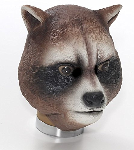 Raccoon Latex Mask Animal Halloween Adult Costume Rocket Accessory Parties