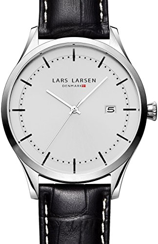 Lars Larsen Alex Unisex Quartz Watch with White Dial Analogue Display and Black Leather Strap 119SSBL