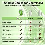 ? NutriZing's Vitamin K2 ~ High Strength 600 MCG MK-7 ~ Fermented Natto Based Vitamin K ~ 90 vegicaps ~ Suitable for Vegetarians ~ For Stronger Teeth and Bones ~ For Improved Heart and Blood Health ~ FREE BONUS E-BOOK