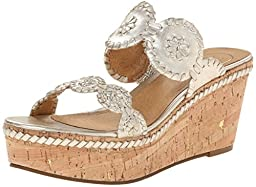 Jack Rogers Women\'s Leigh Platform Sandal,Platinum,9 M US