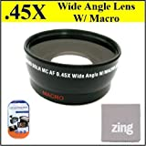 Big Mike'S 43Mm 0.45X Wide Angle Lens With Macro For Panasonic Hdc-Hs250 Hdc-Hs300 Hdc-Tm300 Camcorders + Microfiber Cleaning Cloth + Lcd Screen Protectors