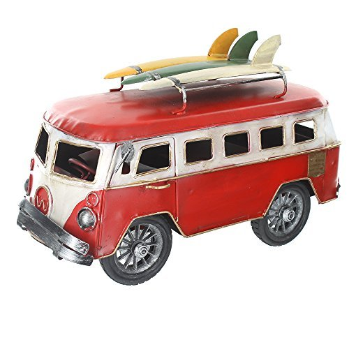 Retro Shabby Chic Camper Van With Surfboards On Roof Rack - Red
