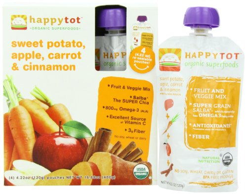 Happy Tot Organic Super Foods, Sweet Potato, Apple, Carrot and Cinnamon, 16.88 Ounce (Wheat Free Baby Food compare prices)