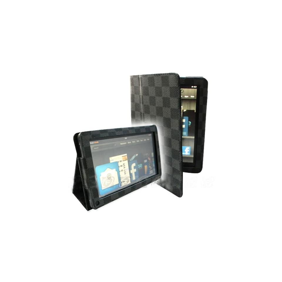 FINTIE(TM) PU Leather Folio Case Cover With Stand for  Kindle Fire 7 Tablet   Black/Grey
