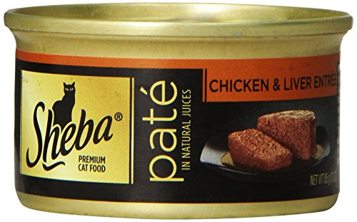 Sheba Premium Pate In Natural Juices Chicken And Liver Entrée Wet Food For Cats, 3-Ounce (Pack Of 24)