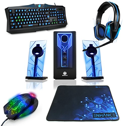 ENHANCE Gaming Bundle Package | 7.1 Virtual Surround Sound Headset | Premium 2.1 Channel Speaker with Side-Firing Subwoofer | Precision Backlit Keyboard |Adjustable DPI Mouse | Extra Large Smooth Fabric Mousepad