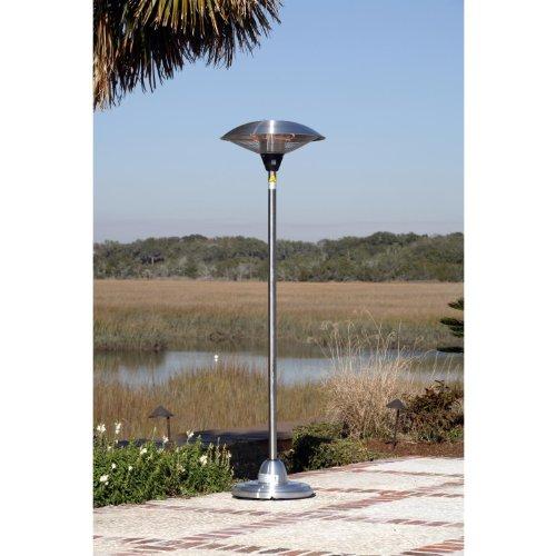 Fire Sense 700/800/1500 Watt Round Electric Halogen Patio Heater - Stainless Steel