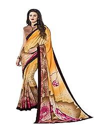 Varni Fabrics - Exquisite Orange and Beige Color Crepe Saree