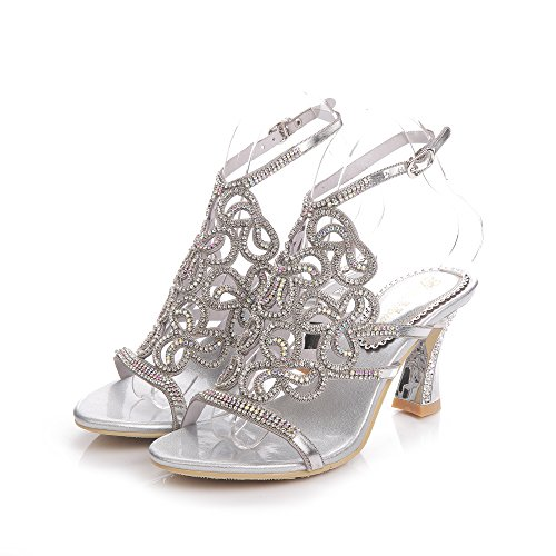 Geminigirl Women's Rhinestone Sandals with Chunky Heels Wedding Bridal Bridesmaid Shoes Silver 7.5 M US