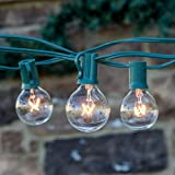 Brightech™ - AMBIENCE - String Light with 25 G40 Clear Globe Bulbs - Commercial Quality UL Listed - Indoor and Outdoor Use - Natural Warm White Light - Use To Create The Warm Friendly Ambiance of a Wine Country Bistro or Summer Festival - With Frustration