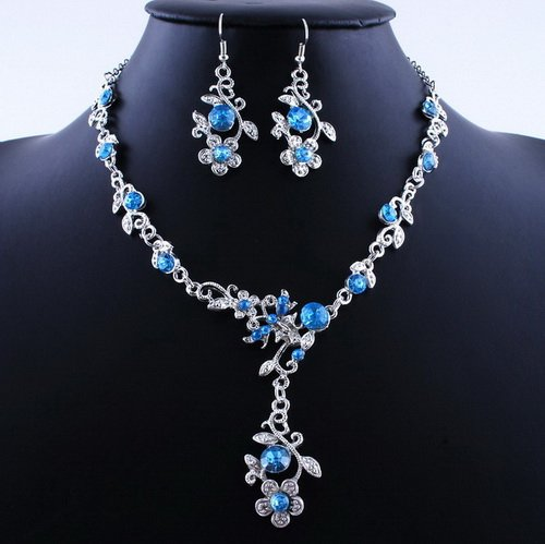 Hot Flower Wedding Party Alloy Acrylic Necklace Earring sets BLue