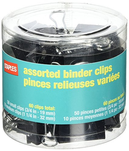 STPL Staples Binder Clips, Assorted Sizes, Black, 60-Pack (Mixed Binder Clips compare prices)