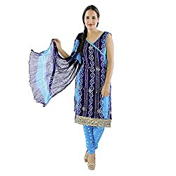 SoundaryaHand Kundan Work Bandhej Cotton Unstitched Dress Material