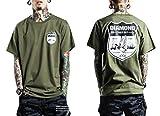 シャルマンルージー 【CHARMANT ROUJOIE】 全3色 メンズ バード プリント Tシャツ 半袖 ミリタリー / 大きい サイズ あり (02. カーキ L)