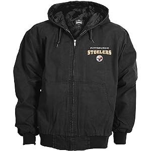 Reebok Pittsburgh Steelers Cumberland Full Zip Quilt Lined Hooded Jacket by Reebok