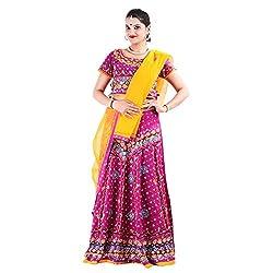 RTD Rajasthani Traditional Pink Yellow Lehenga Choli Dupatta Set for Women
