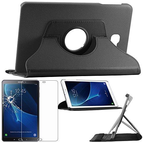 ebestStar ® pour Samsung Galaxy Tab A 2016 10.1 T580 T585 (A6) - Housse Coque Etui PU cuir support rotatif 360° + Film protection écran en VERRE Trempé, Couleur Noir