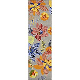 Safavieh Four Seasons Collection FRS468C Hand-Hooked Grey and Orange Indoor/ Outdoor Runner, 2 feet 3 inches by 6 feet (2\'3\