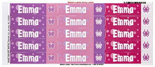 Mabel'S Labels 40845137 Peel And Stick Personalized Labels With The Name Emma And Butterfly Icon, 45-Count front-547209