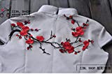 Beautiful plum flower patches applique t-shirts, jeans skirt stick decoration cloth lace fabric diy (Red)