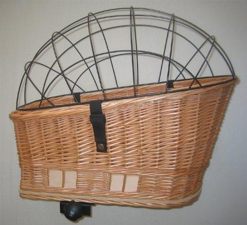 Tigana-Hundefahrradkorb-fr-Gepcktrger-aus-Weide-60-x-39-cm-mit-Metallgitter-Kissen-Tierkorb-Hinterradkorb-Hundekorb-fr-Fahrrad