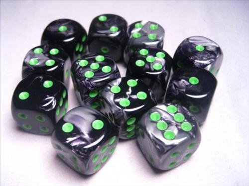Chessex Dice d6 Sets: Gemini Black & Grey / Gray with Green - 16mm Six Sided Die (12) Block of Dice