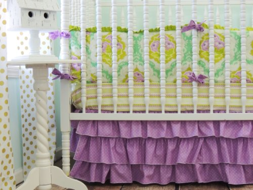 Tushies and Tantrums Boutique Crib Set, Emerald Green and Orchid