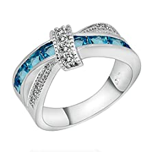 buy Rongxing Jewelry Crossover Designed Channel Setting Cubic Aqua Blue Stone Finger Ring Size6