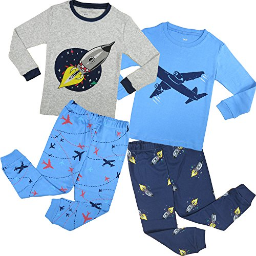 Family feeling baby boys 39 4 piece long sleeve pajama set Long cotton sleep shirts