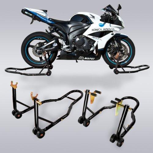 Motorcycle Universal Black Front Rear Stand Kit Swingarm Bike CBR Ninja GSX R6 R1 ZX6R ZX10R image