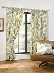 Autumn Leaf Green 66x54 Cotton Blend Lined Pencil Pleat Curtains #doowelgni