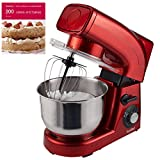 VonShef Electric Food Stand Mixer Machine Red - 1200W, 5.5 Litre Bowl, Flat Beater, Balloon Whisk, Dough Hook & Splash Guard FREE 200 Cakes and Bakes Recipe Book RRP £4.99