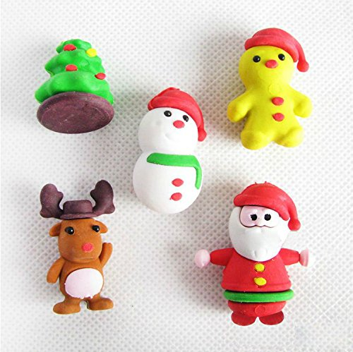 Fajiabao Christmas Gifts Kids Funny Cartoon Santa Claus Christmas Tree Snowman Animal Eraser Sets Set of 5 - 1