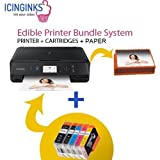 Latest Canon Edible Printer Bundle Package - 50 Edible Sheets,Refillable Edible Cartridges, Free Image Designing Lifetime, Cake Printer, Edible Image Printer Icinginks