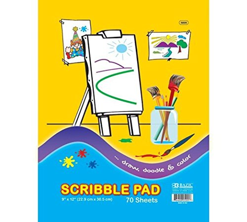 2 Pk, BAZIC Scribble Pad, 9 X 12 Inches - 70 Sheets Per Pack