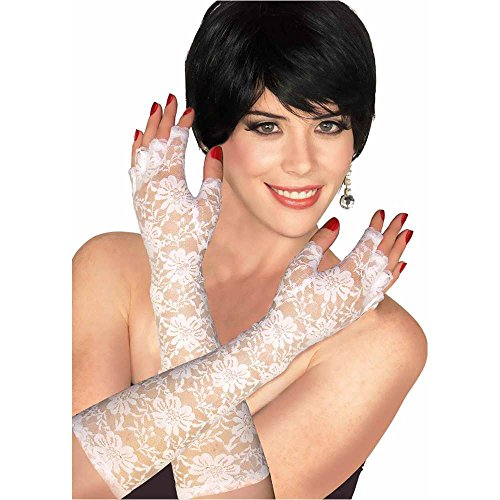 White Lace Fingerless Gloves - One Size