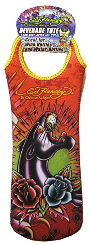Ed Hardy Designs By Christian Audigier Neoprene One-Bottle Wine Beverage Tote (Tattoo Black Panther)