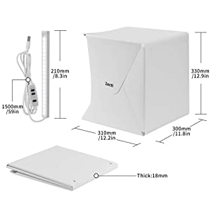 Zecti 12x12 inch/30x30cm Portable Photo Studio Box, Table Top Photo Photography Studio Lighting Light Tent Kit with 2 Adjustable LED Strip Lights and 4 Backdrops (Tamaño: 30 cm)