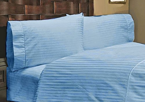 Srp Linen 400-Thread-Count Super Soft Zipper Closure Designer 3-Piece Luxury Duvet Cover Set California King/ Western King Stripe Light Blue front-1074245