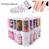 Tempea Metallic retro rainbow chameleon glitter chrome NAIL FOIL TRANSFER psychedelic mirror effect silver nail decals paisley floral rose petal holographic unicorn nail art (2)