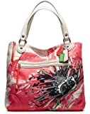 Coach Poppy Placed Flower Glam Tote Bag Purse 19029 Light Khaki Coral