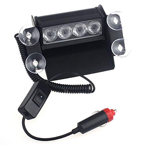 Doinshop (Tm) New Fashion Car Accessory 4Led Windshield Emergency Rescue Safety Flash Light Lamp Red